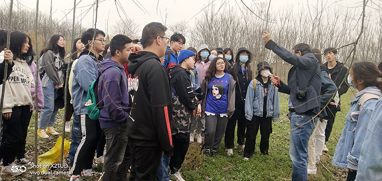 西北农林科技大学学生来苗木中心参观学习